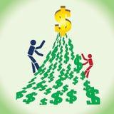 Twee personen in de concurrentie om een groot geld te bereiken Stock Afbeeldingen