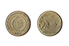 Twee peso uruguayan munt Stock Afbeeldingen