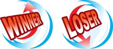 Twee pictogrammen - Winnaar en verliezer Stock Foto