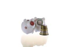 Twee piggy-banken in wit Stock Fotografie