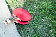 Twee pingpong of pingpongrackets royalty-vrije stock afbeeldingen