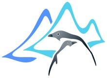Twee pinguïnen royalty-vrije illustratie