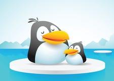 Twee pinguïnen op ijs Stock Afbeelding