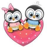 Twee Pinguïnen zit op een hart royalty-vrije illustratie