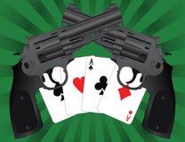 Twee pistolen en azen Stock Afbeelding