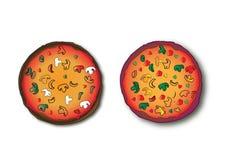 Twee pizza's Royalty-vrije Stock Fotografie