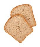 Twee plakken van bruin brood Stock Afbeeldingen