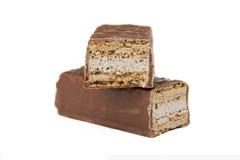 Twee plakken van chocolade Stock Fotografie