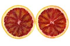 Twee plakken van de bloedsinaasappel Stock Foto's