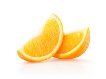 Twee plakken van sinaasappel Stock Afbeeldingen