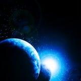 Twee planeten tegen de zon stock illustratie