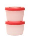 Twee plastic containers op de witte achtergrond Royalty-vrije Stock Fotografie