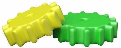 Twee plastic stuk speelgoed tandraderen stock illustratie