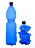 Twee plastic verpletterde flessen Royalty-vrije Stock Foto