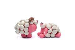 Twee plasticineschapen Royalty-vrije Stock Foto