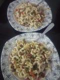 Twee platen van macaroni Royalty-vrije Stock Foto