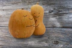 Twee pompoenen in liefde Royalty-vrije Stock Afbeeldingen
