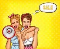 Twee pop-artmeisjes melden een verkoop vector illustratie