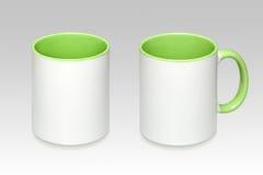 Twee posities van een witte mok stock afbeelding