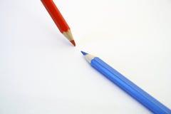 Twee potloden op wit Stock Foto