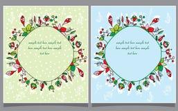 twee prentbriefkaaren en bloemenkroon Royalty-vrije Stock Afbeeldingen