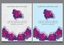 Twee prentbriefkaaren met rozen, uitnodiging Stock Foto's