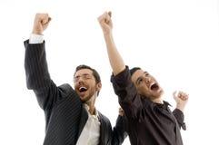 Twee professionele mensen die succes vieren Stock Afbeeldingen