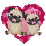 Twee pug honden royalty-vrije illustratie