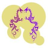 Twee purper draaksilhouet, kaki kleurenbanner op witte backgr Stock Afbeeldingen