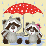 Twee Raccons met paraplu royalty-vrije illustratie