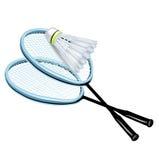 Twee rackets en badmintonshuttle Stock Afbeeldingen