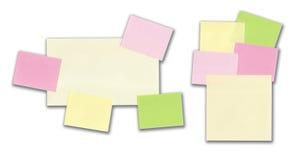 Twee reeksen kleverige nota's die op wit worden geïsoleerdu Stock Foto