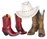 Twee reeksen laarzen met cowboyhoed Stock Afbeeldingen