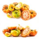 Twee reeksen samenstellingen van lycopersicumtype tomaten Royalty-vrije Stock Foto