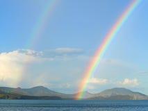 Twee regenbogen royalty-vrije stock afbeeldingen
