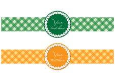 Twee retro/moderne etiketten in groene en oranje kleur Stock Foto's