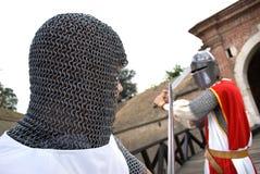Twee ridders het praktizeren Royalty-vrije Stock Afbeeldingen