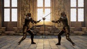 Twee ridders in middeleeuws pantser bestrijden elkaar met zwaarden het 3d teruggeven royalty-vrije illustratie