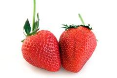 Twee Rijpe Aardbeien royalty-vrije stock foto