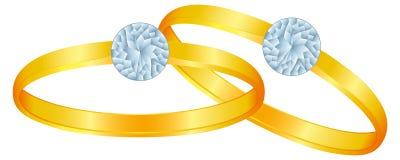 Twee ringen met diamanten Royalty-vrije Stock Foto
