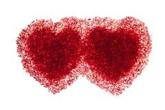 Twee robijnrode rode harten Stock Foto's