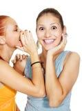 Twee roddelende meisjes Stock Foto