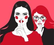 Twee roddelmeisjes stock illustratie