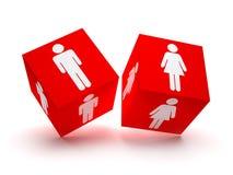 Twee rode blokken met mannelijke en vrouwelijke silhouetten Stock Foto