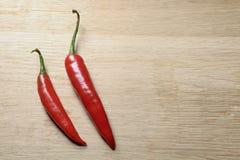 Twee rode die Spaanse pepers vanaf bovenkant worden gezien Royalty-vrije Stock Afbeelding