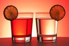 Twee rode dranken Royalty-vrije Stock Foto's