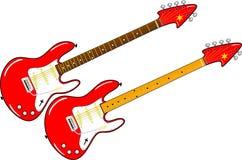 Twee rode elektrische gitaren met esdoorn en rozehouthals Royalty-vrije Stock Foto's