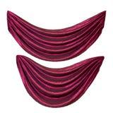 Twee rode gordijnen Royalty-vrije Stock Afbeelding