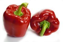 Twee rode groene paprika's Royalty-vrije Stock Foto