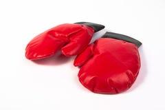 Twee rode handschoenen Stock Afbeeldingen